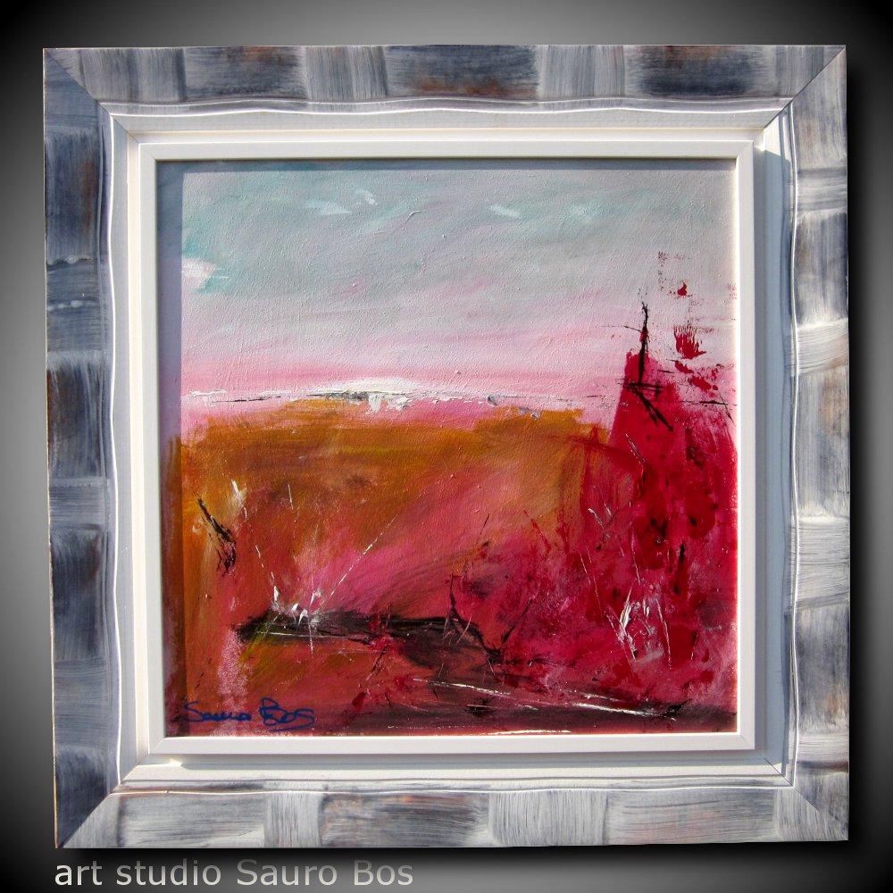 rosso relativo - quadro  moderno con cornice olio su tela moderno