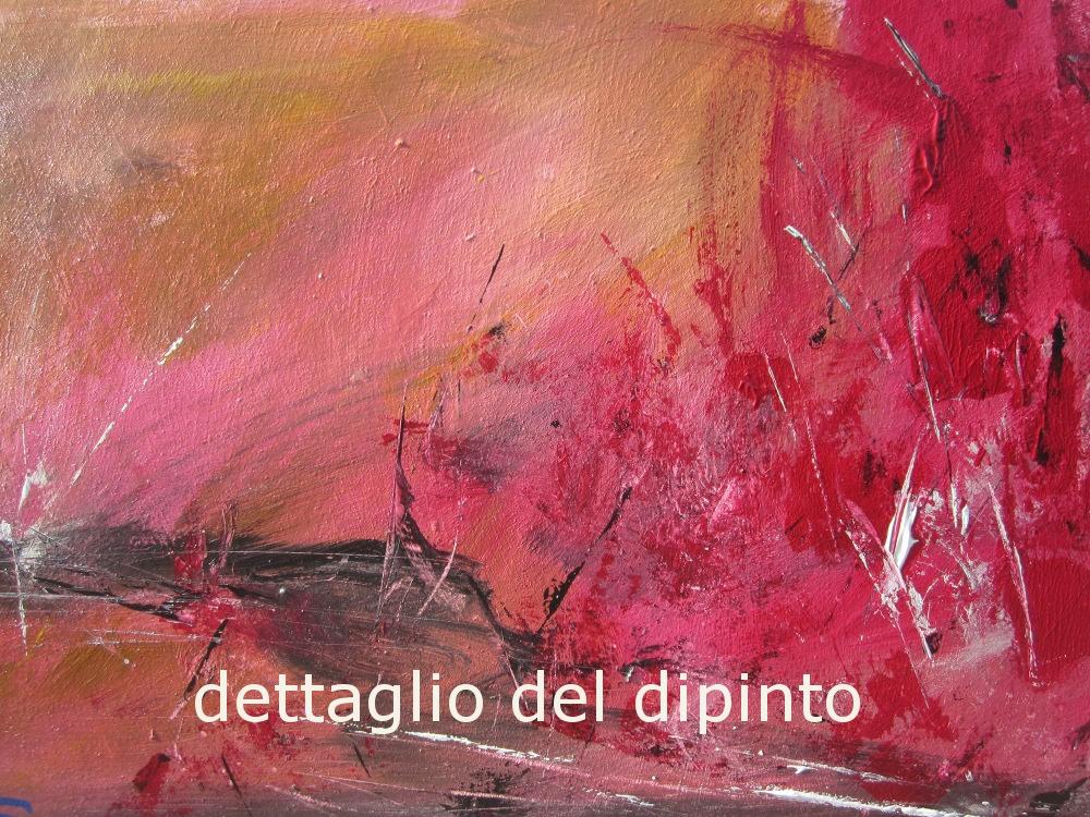 rosso relativodettaglio - quadro  moderno con cornice olio su tela moderno