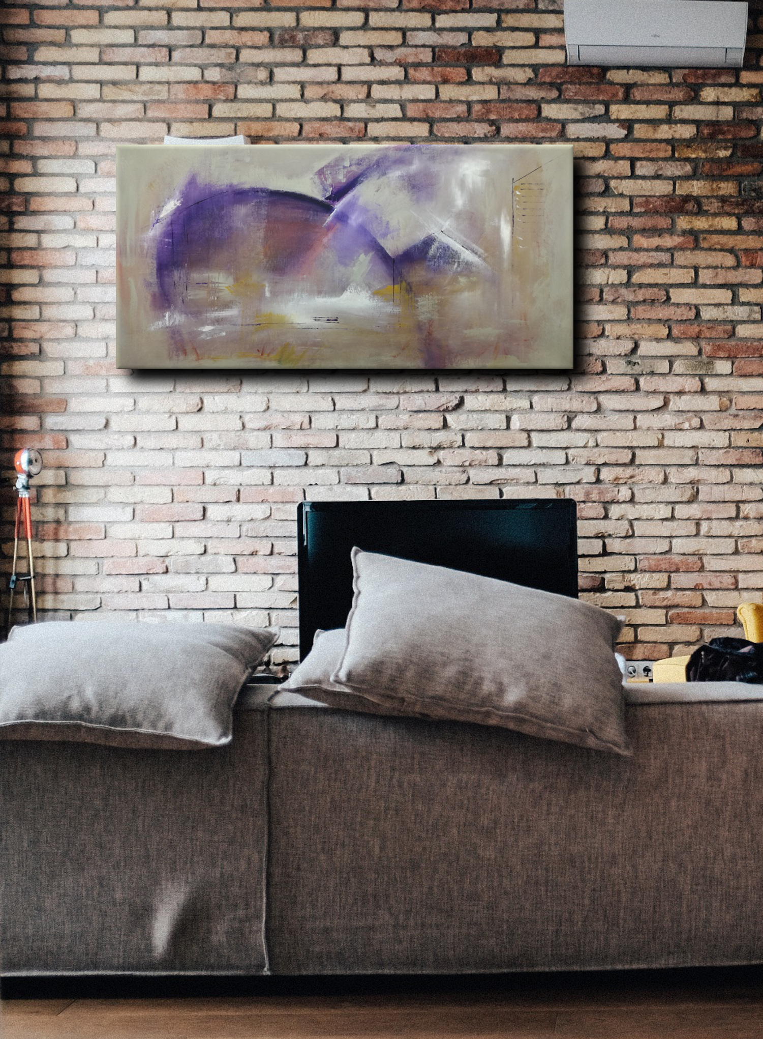 C037 astratto viola - quadri moderni ad olio colorati su tela grandi dimensioni 120x60-viola