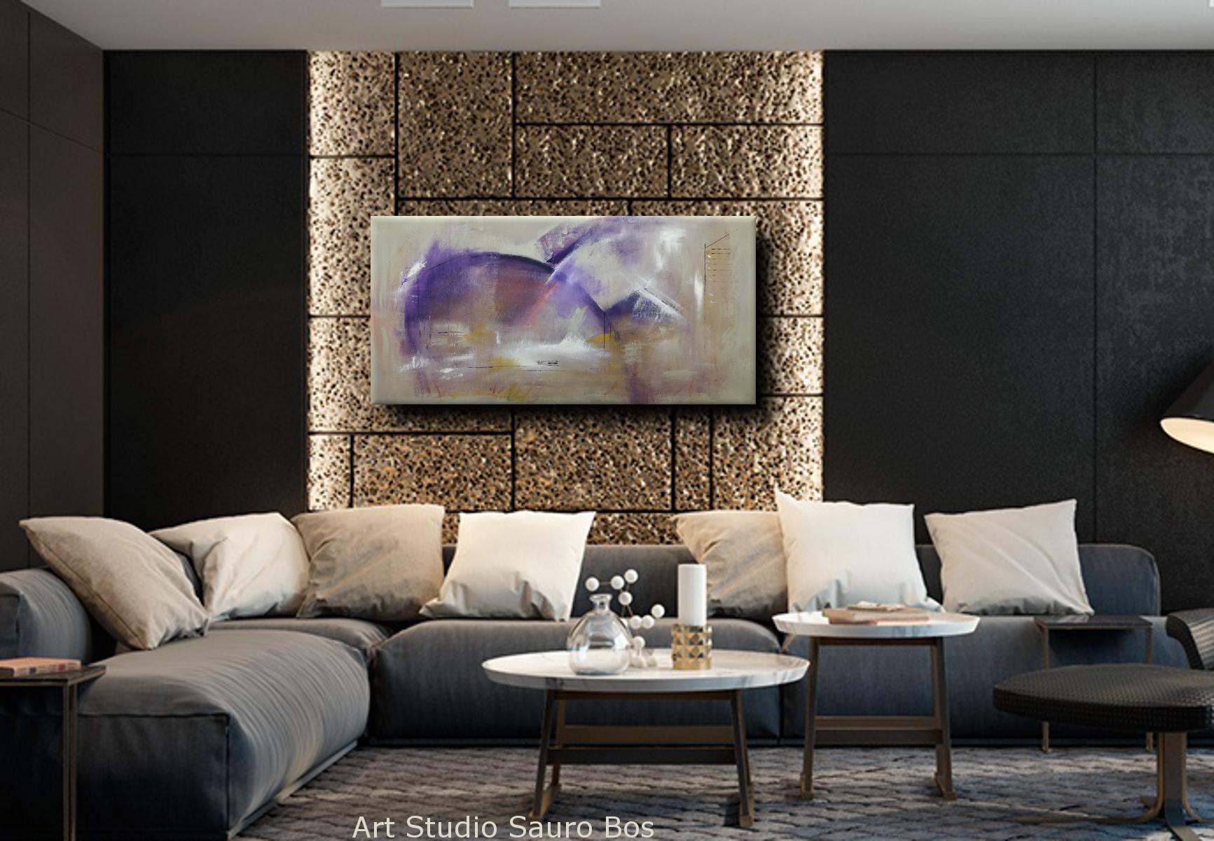 C037 interior - quadri moderni ad olio colorati su tela grandi dimensioni 120x60-viola