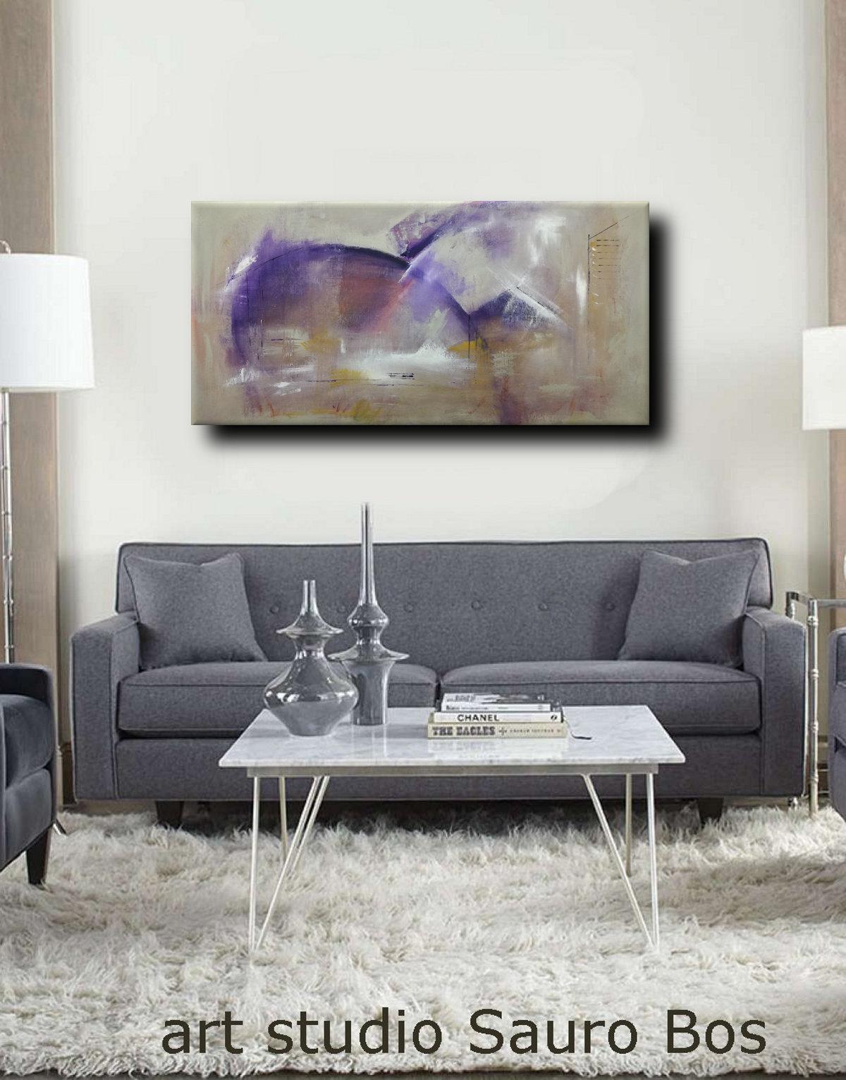 C37 quadro astratto su tela - quadri moderni ad olio colorati su tela grandi dimensioni 120x60-viola