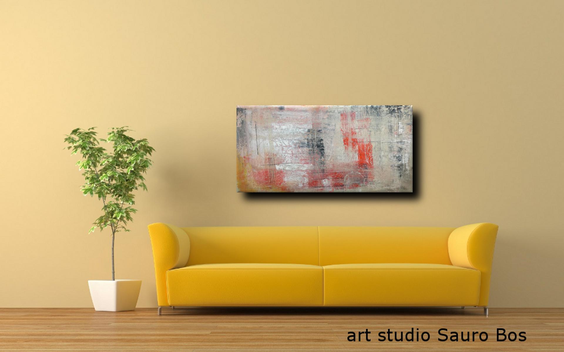 astratto C036 divgiallo - quadri moderni ad olio colorati su tela grandi dimensioni 120x60x4