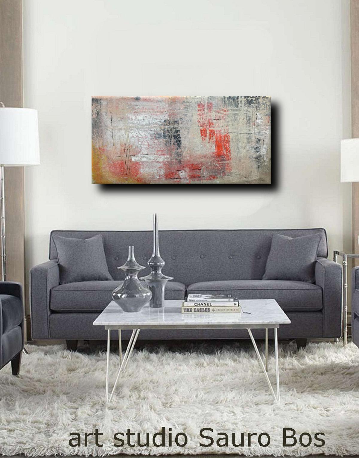 astratto C036 divgrigio - quadri moderni ad olio colorati su tela grandi dimensioni 120x60x4