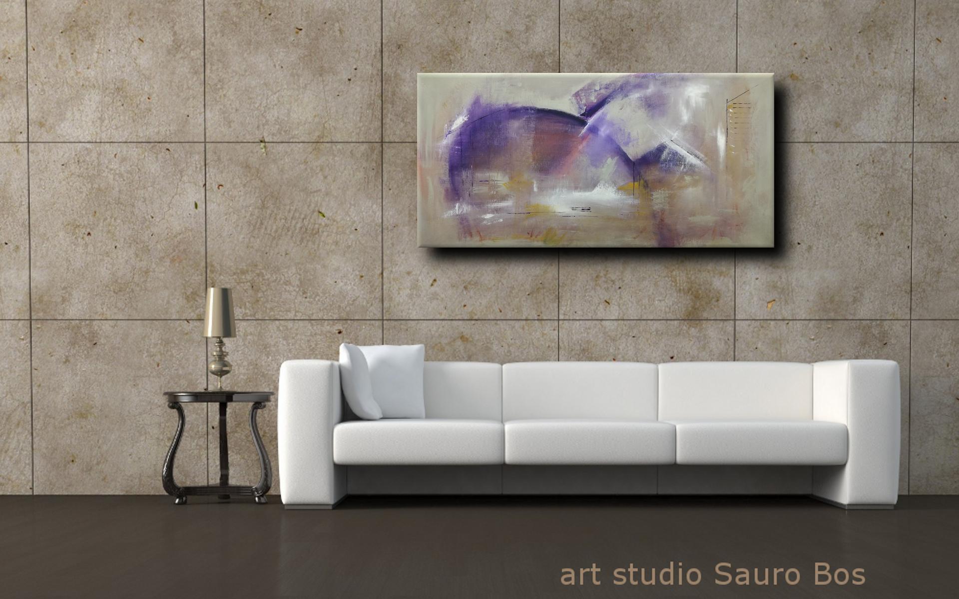astratto C037 moderno - quadri moderni ad olio colorati su tela grandi dimensioni 120x60-viola