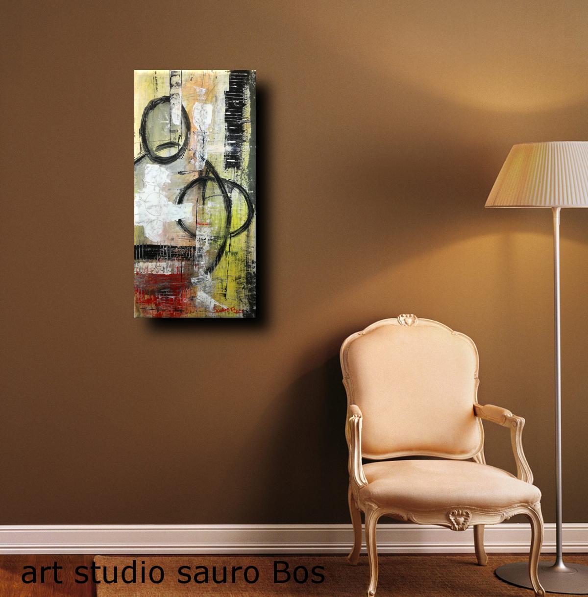 astratto c028 - dipinti moderni  fatti a mano 70x35olio su tela