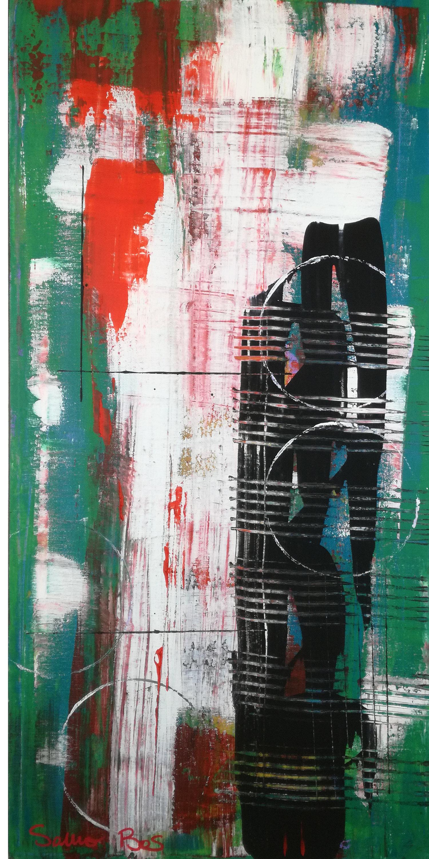 astratto c031 - dipinti astratti fatti a mano 70x35olio su tela