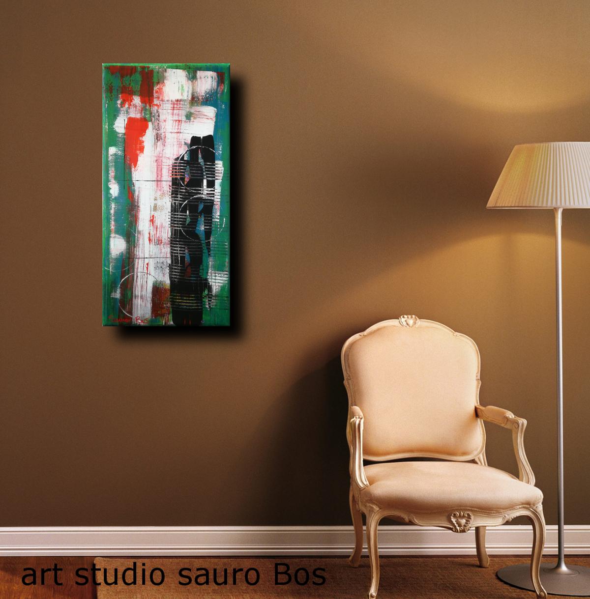 astratto c031sed - dipinti astratti fatti a mano 70x35olio su tela