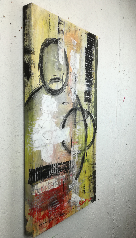 astratto colorato c028 - dipinti moderni  fatti a mano 70x35olio su tela