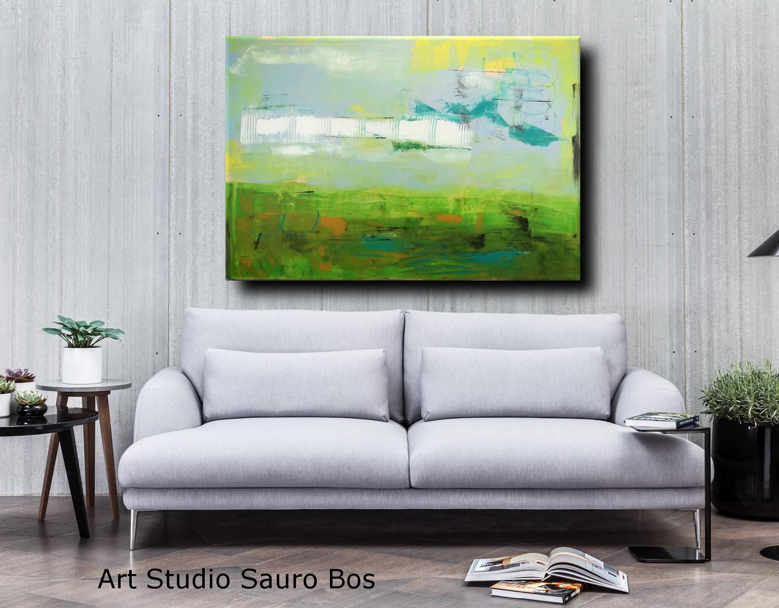 astratto forest 2 divbianco - quadri moderni per arredamento contemporaneo 120x80 verde