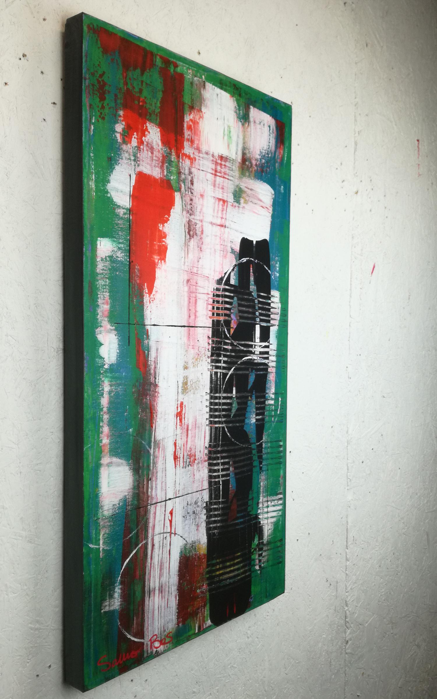 astratto green c031 - dipinti astratti fatti a mano 70x35olio su tela