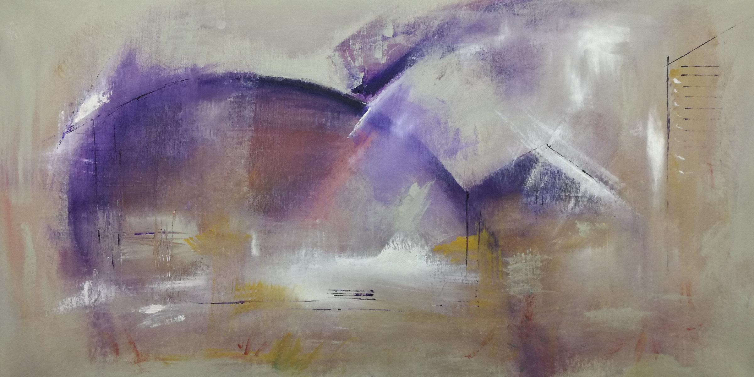 astratto moderno C037 - quadri moderni ad olio colorati su tela grandi dimensioni 120x60-viola