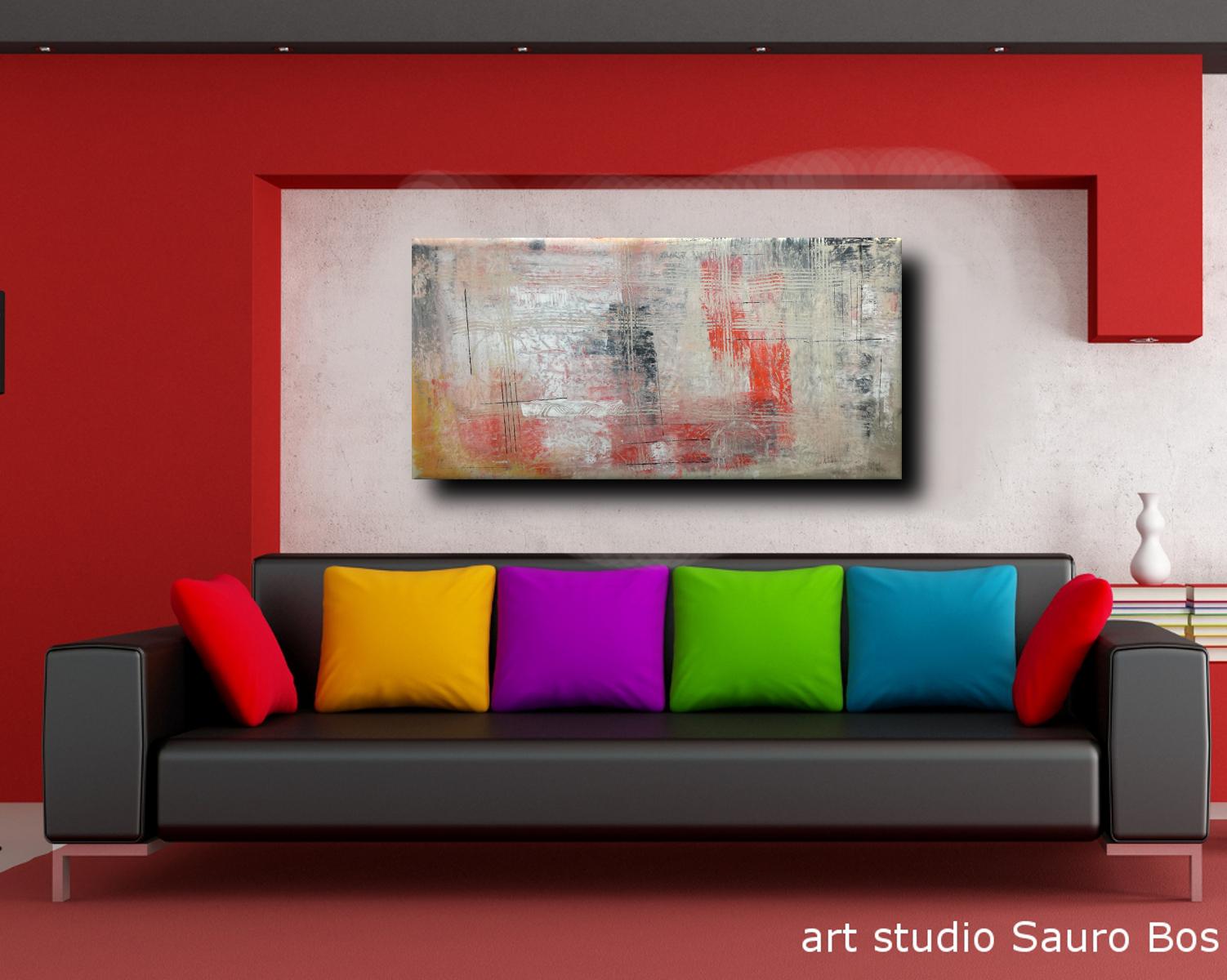 astratto sofa rosso C036 - quadri moderni ad olio colorati su tela grandi dimensioni 120x60x4