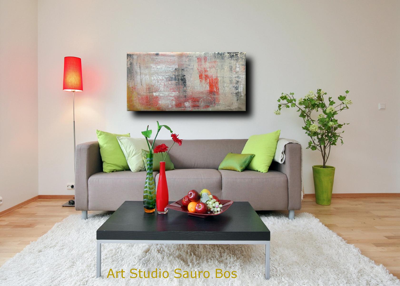 astrattoC036 divano - quadri moderni ad olio colorati su tela grandi dimensioni 120x60x4