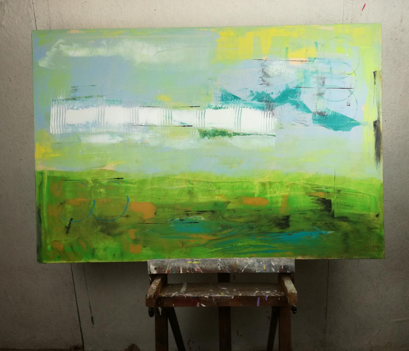 forest 2 astrattostudio - quadri moderni per arredamento contemporaneo 120x80 verde