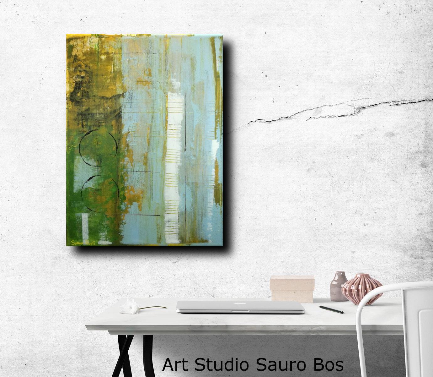 forest geometric - dipinti moderni  fatti a mano 80x60 olio su tela