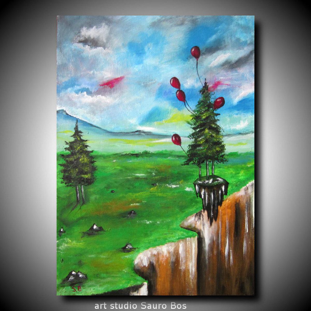 palloncini salva albero - dipinto surreale titolo palloncini salva albero-70x50