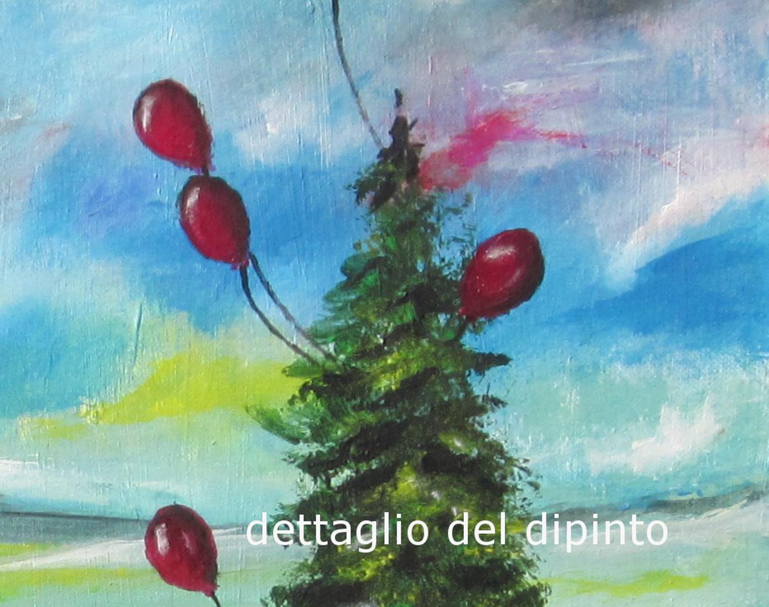 palloncini salva alberodettaglio - dipinto surreale titolo palloncini salva albero-70x50