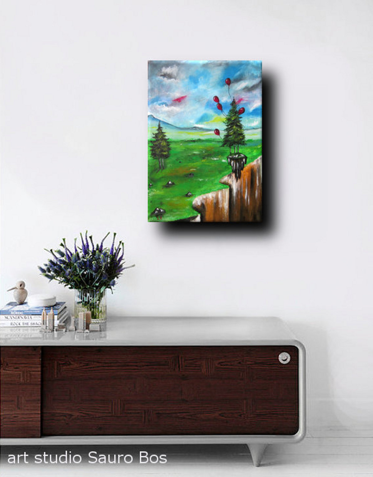 palloncini salva alberodx - dipinto surreale titolo palloncini salva albero-70x50