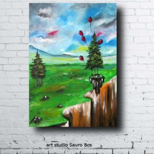 palloncini salva alberomuro 300x300 - dipinto surreale titolo palloncini salva albero-70x50