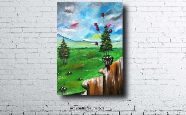 palloncini salva alberomuro 600x371 - dipinto surreale titolo palloncini salva albero-70x50