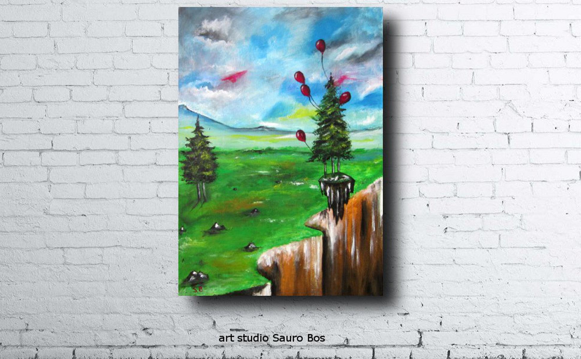 palloncini salva alberomuro - dipinto surreale titolo palloncini salva albero-70x50