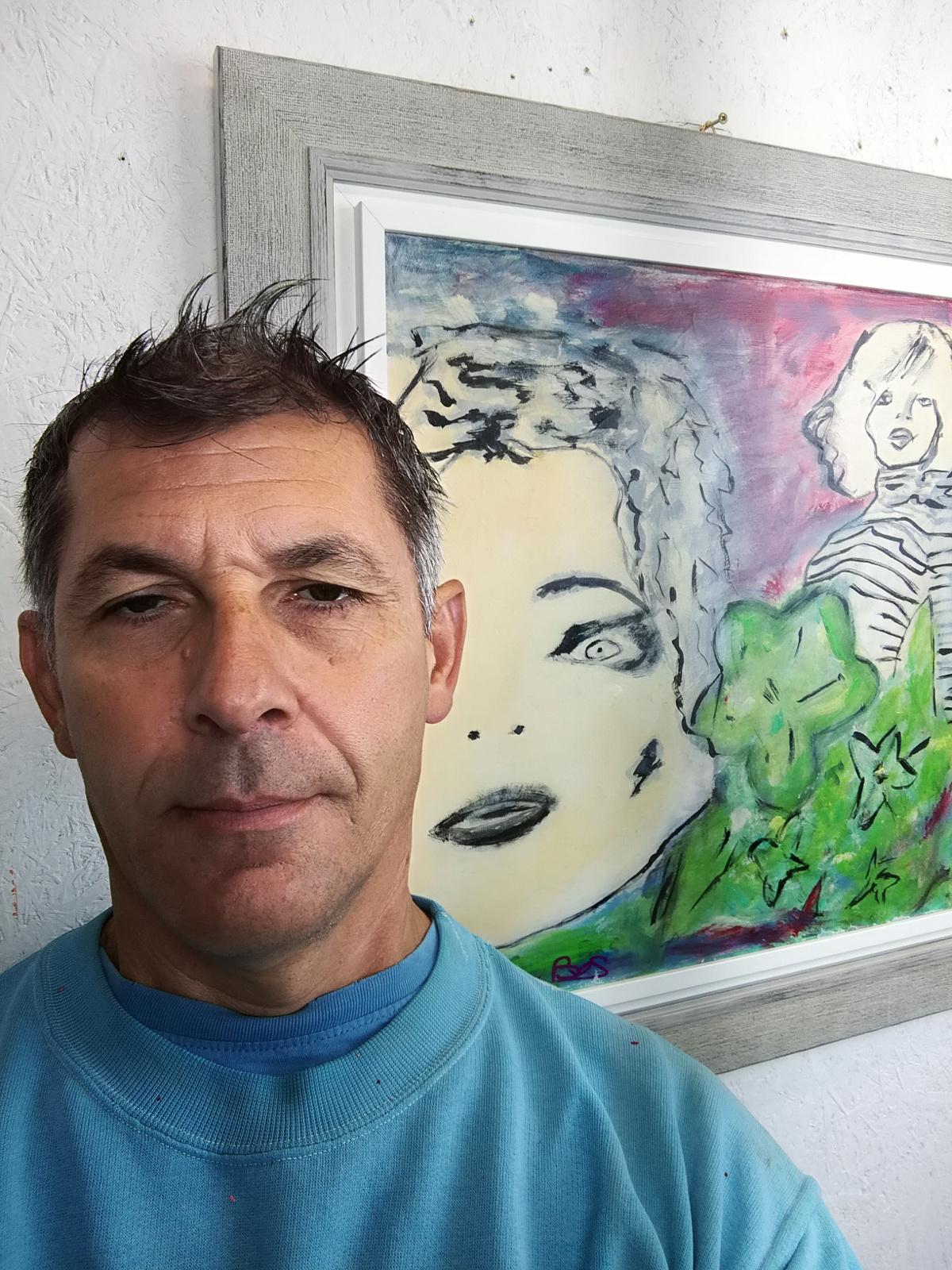 woman 1 con sauro - quadro  moderno con cornice olio su tela woman
