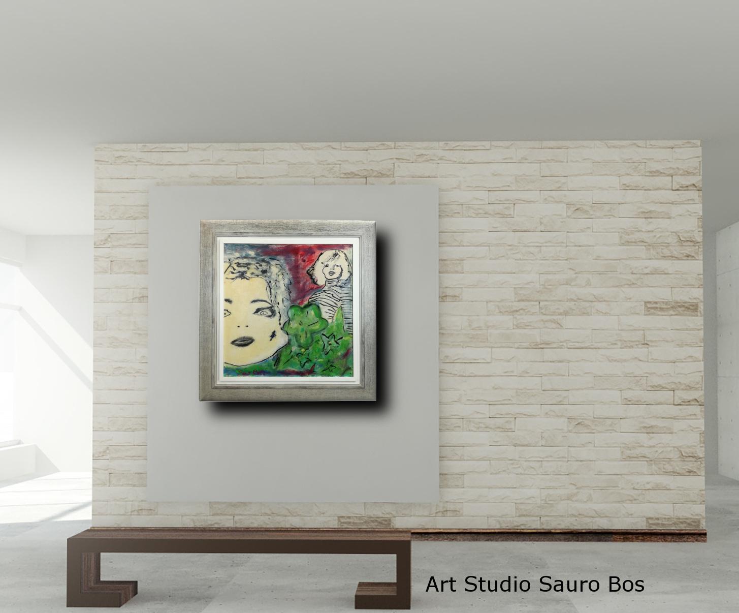 woman 1 panca - quadro  moderno con cornice olio su tela woman