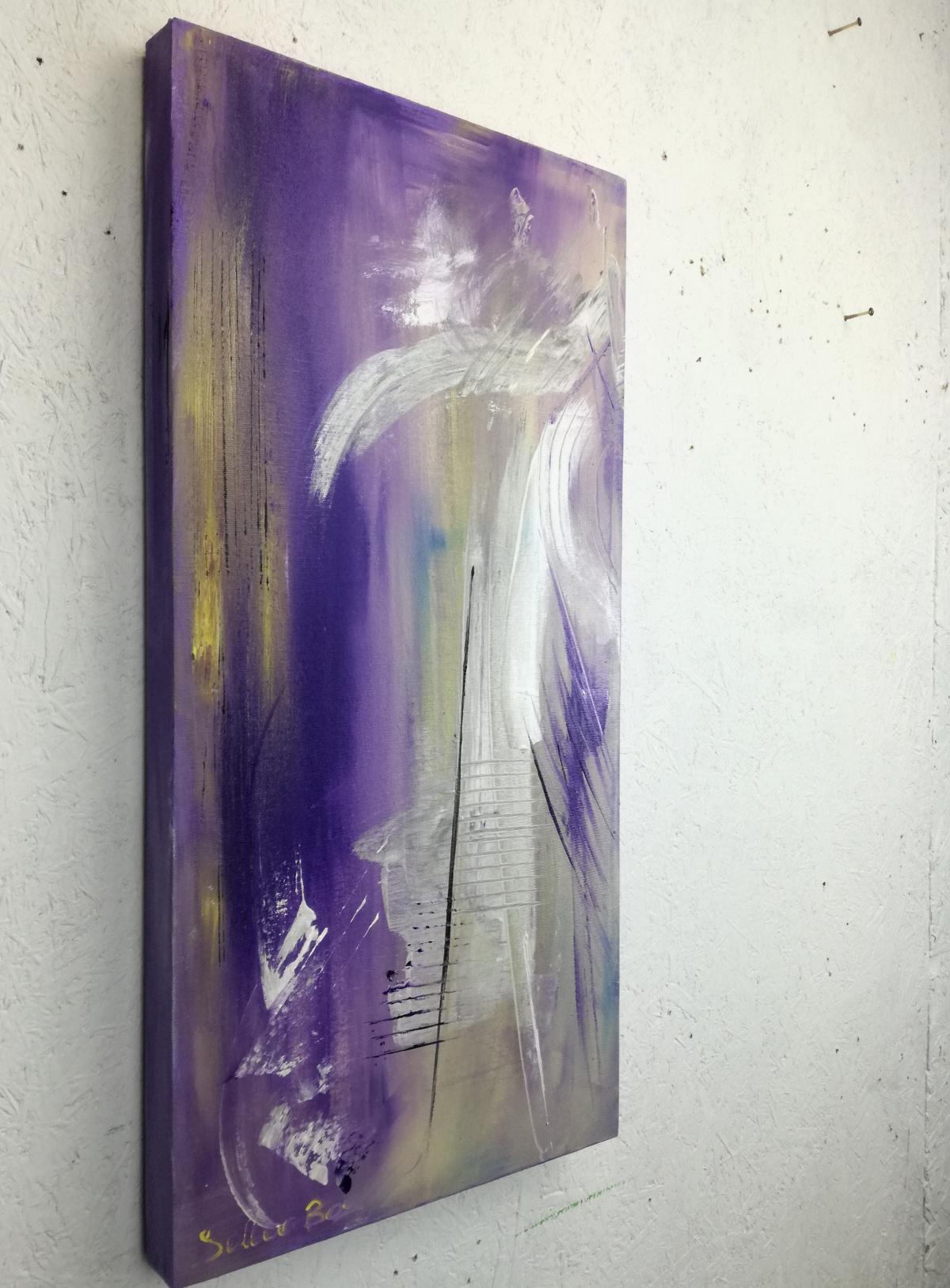 astratto moderno viola - dipinti astratti fatti a mano 70x35-viola