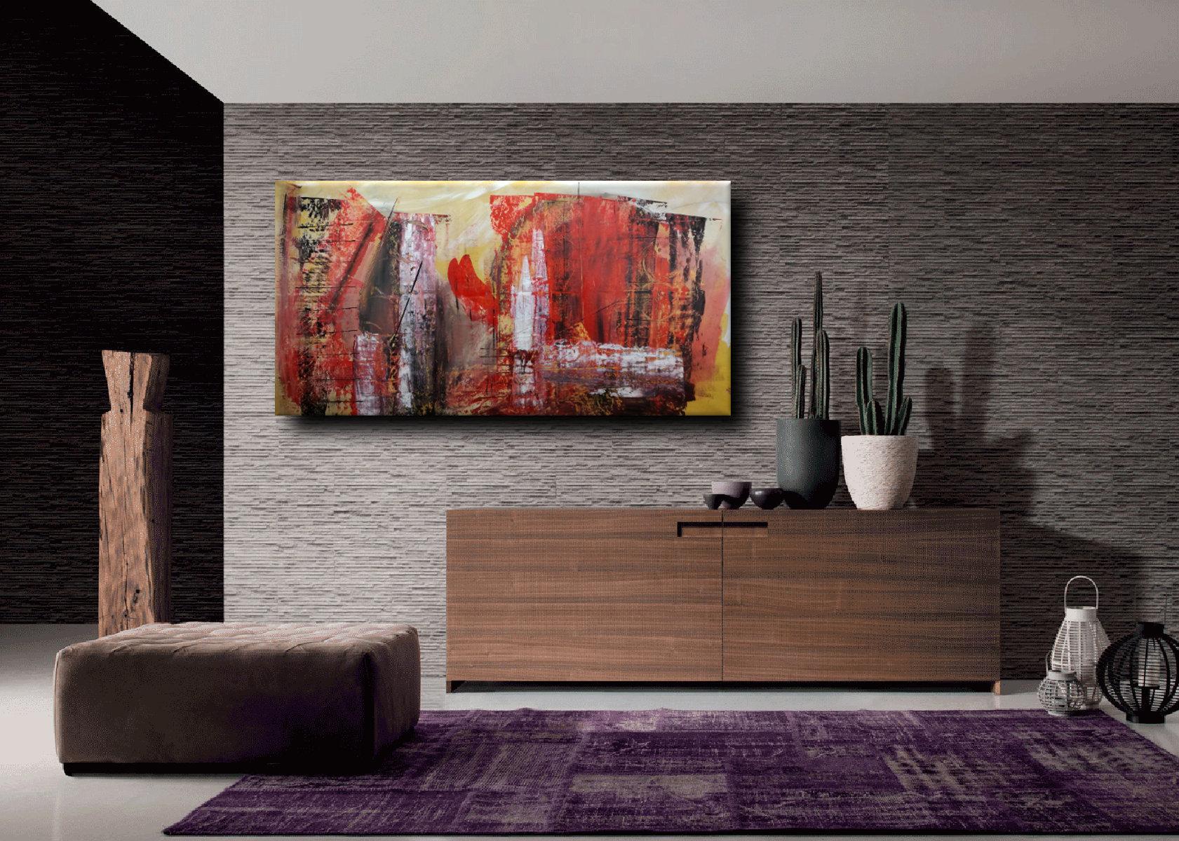 dipinti astratti c058 - quadri astratti informali per soggiorno 160x80