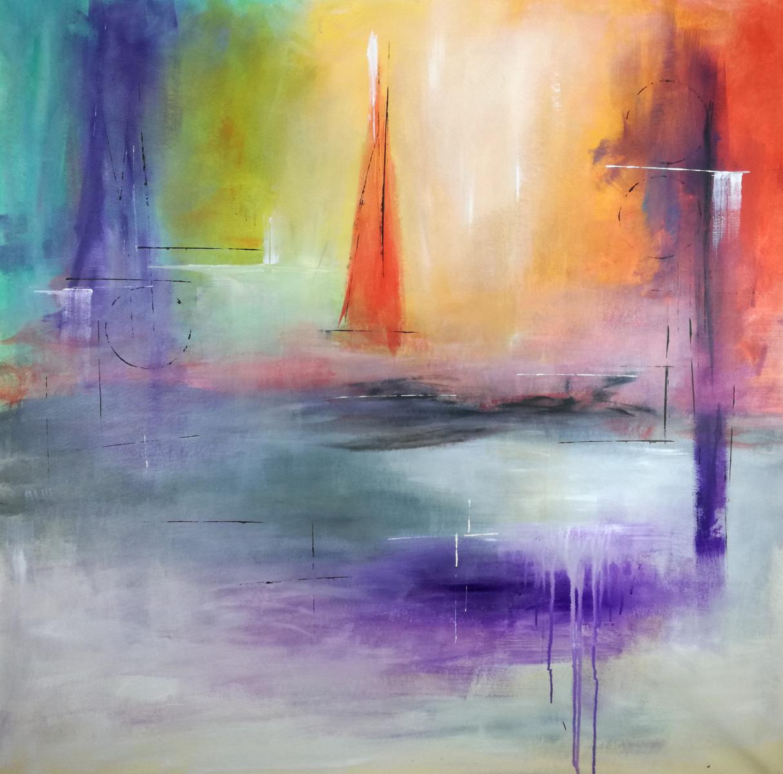 paesaggio astratto c071 - quadri astratti paesaggio rosso 135x135 cm