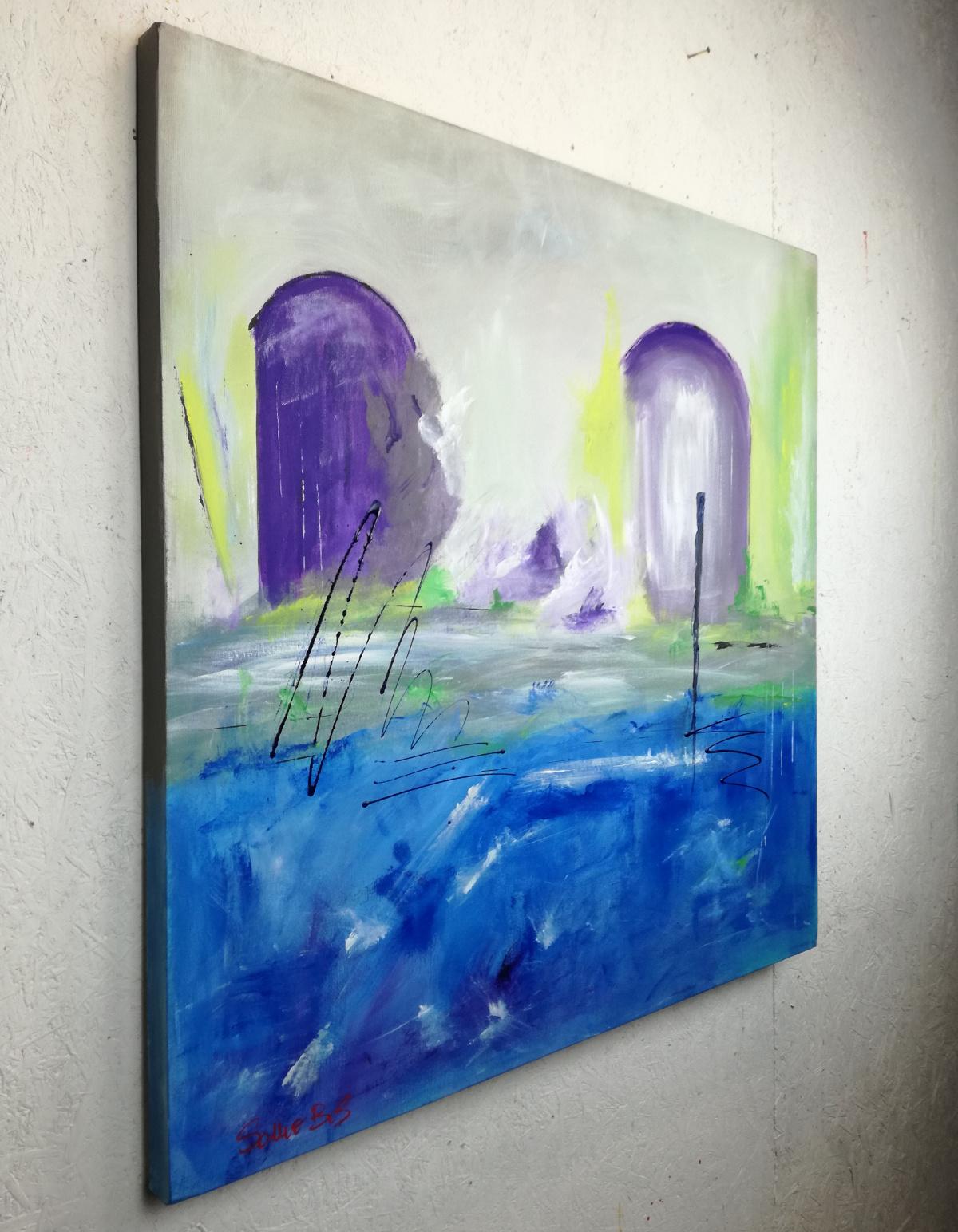 paesaggio astratto dx c042 - paesaggio astratto dipinto a mano 100x100