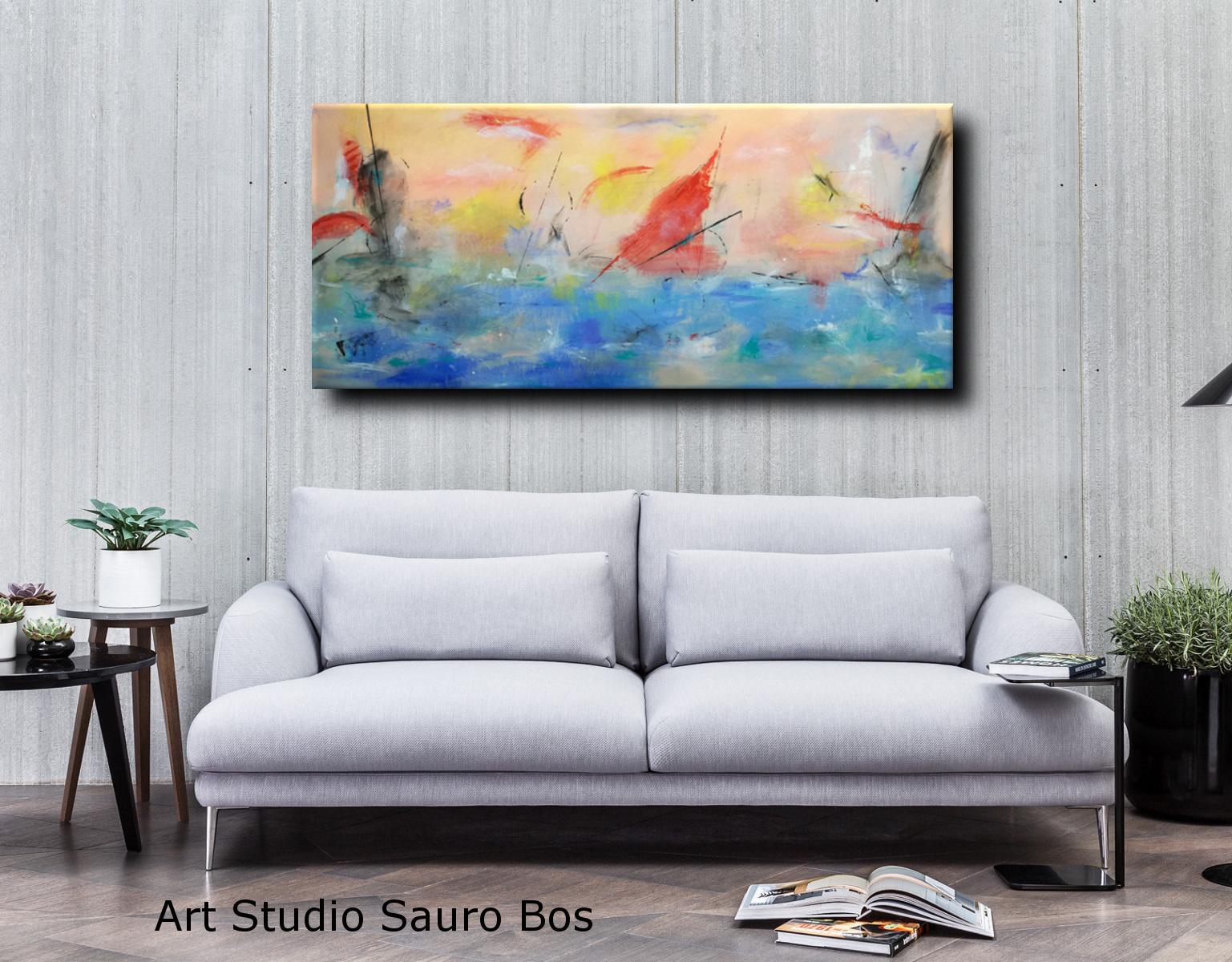 paesaggio astratto moderno c068 - quadri astratti grandi dimensioni 180x80 per soggiorno