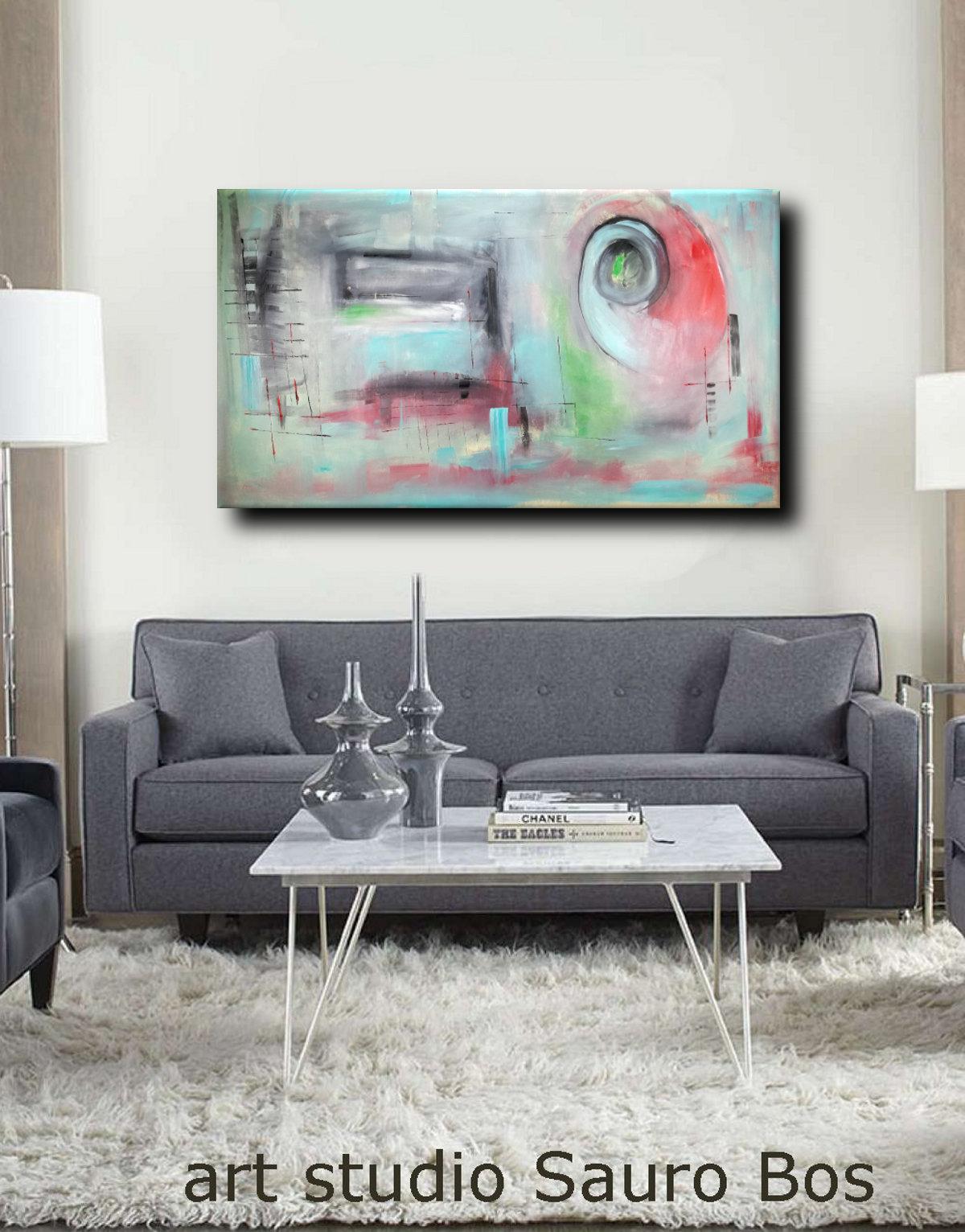 quadri astratti colorati c068 - quadri astratti informali per soggiorno 160x80