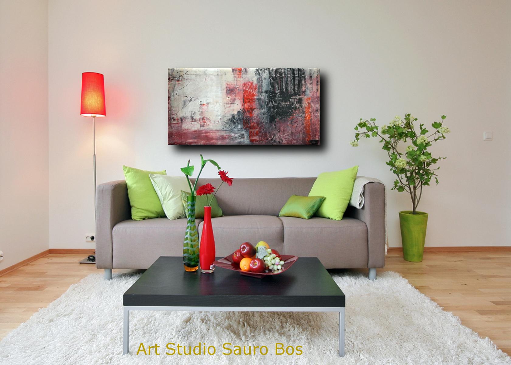 quadri astratti div - quadri moderni per arredamento contemporaneo 120x60 rosso