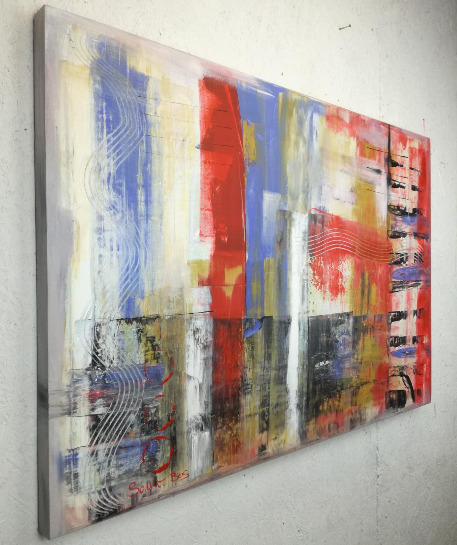 quadri astratti dx 1 - quadri moderni per arredamento contemporaneo 120x80 rosso