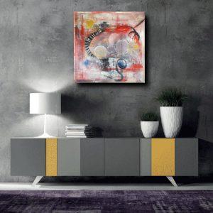 quadri astratti rosso c067 300x300 - quadro fatto a mano su tela con cornice argento 120x70