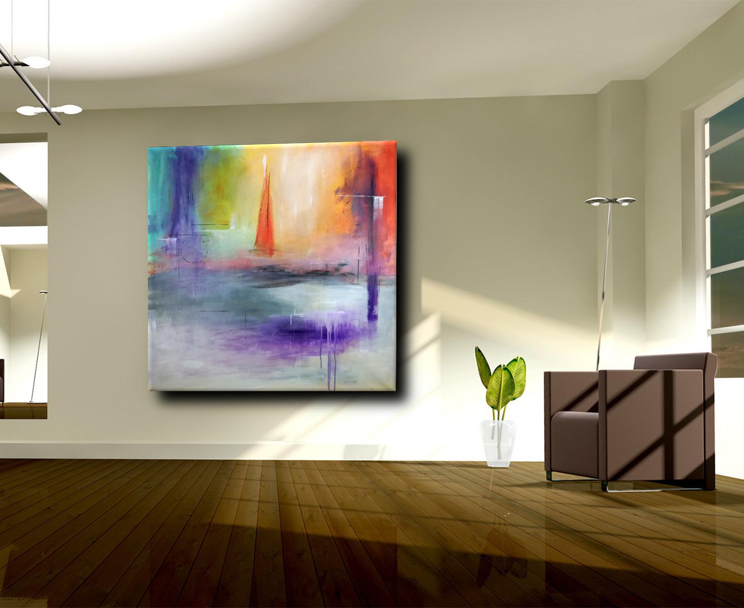 quadri moderni astratti su tela c071 - quadri astratti paesaggio rosso 135x135 cm