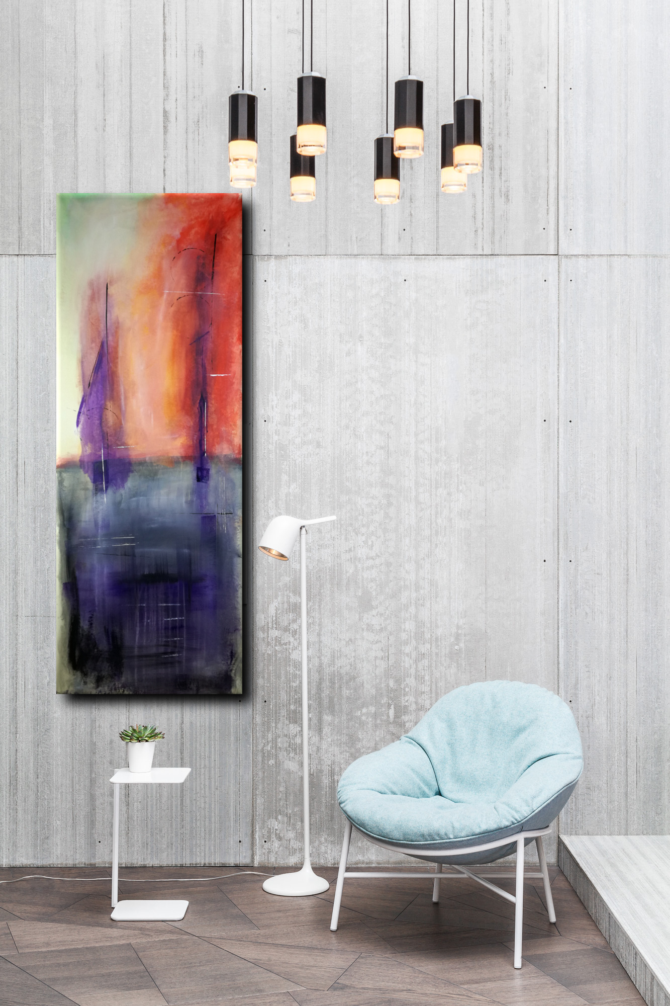 Quadri astratti paesaggio 150x55 sauro bos for Quadri astratti moderni verticali