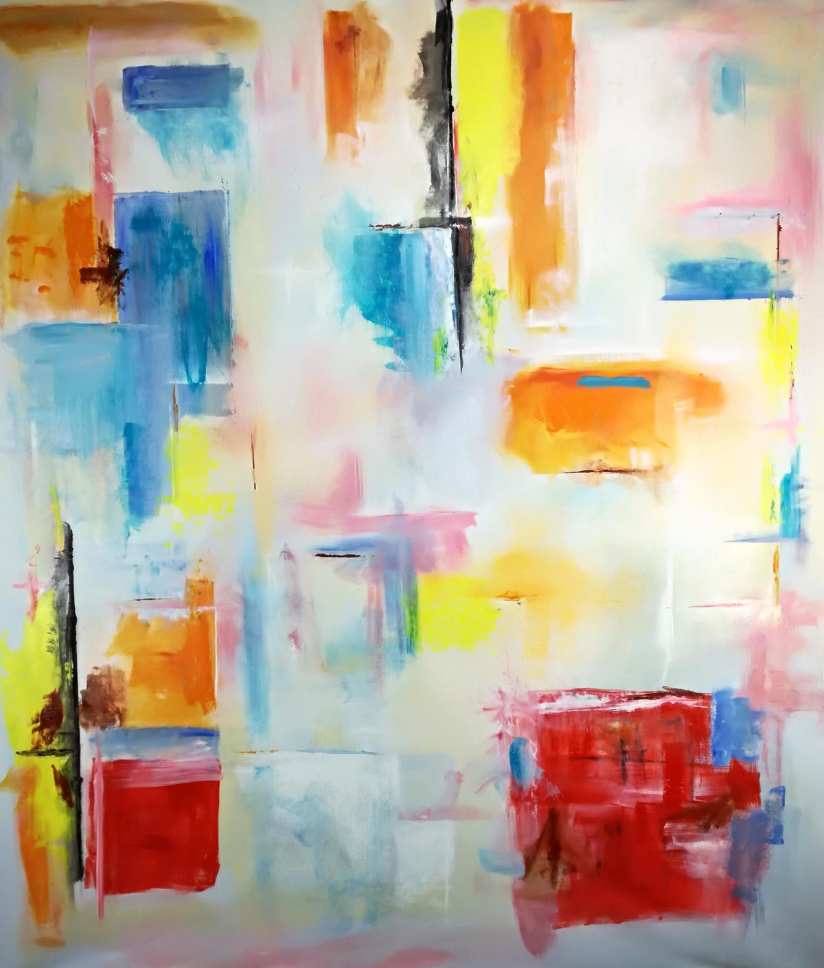 astratto 5 - quadro moderno colorato per soggiorno 150x130