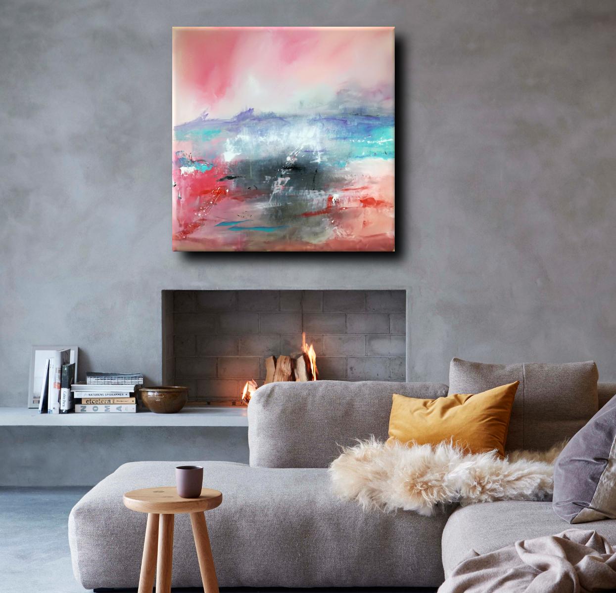 dipinti moderni astratti paesaggio c092 - paesaggio astratto per soggiorno 100x100