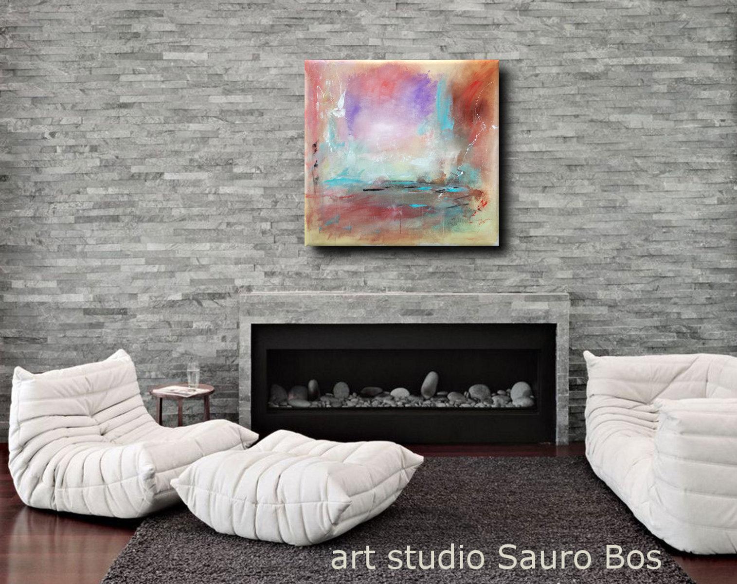 Paesaggio astratto dipinto su tela a mano 100x100 sauro bos for Quadri su tela astratti