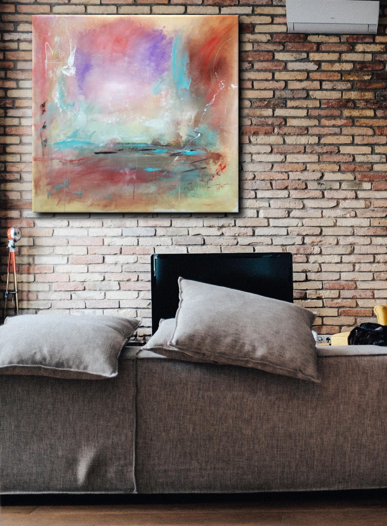 paesaggio astratto dipinto su tela a mano 100x100 | sauro bos
