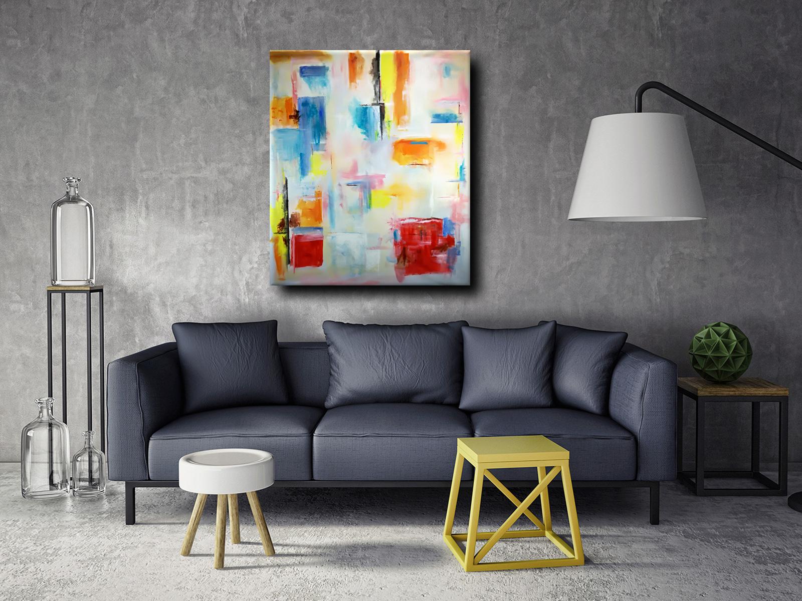 quadri moderni su tela c087 - quadro moderno colorato per soggiorno 150x130