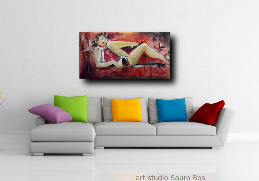 quadri moderni su tela donna d001 - dipinti grandi dimensioni moderni 120x60