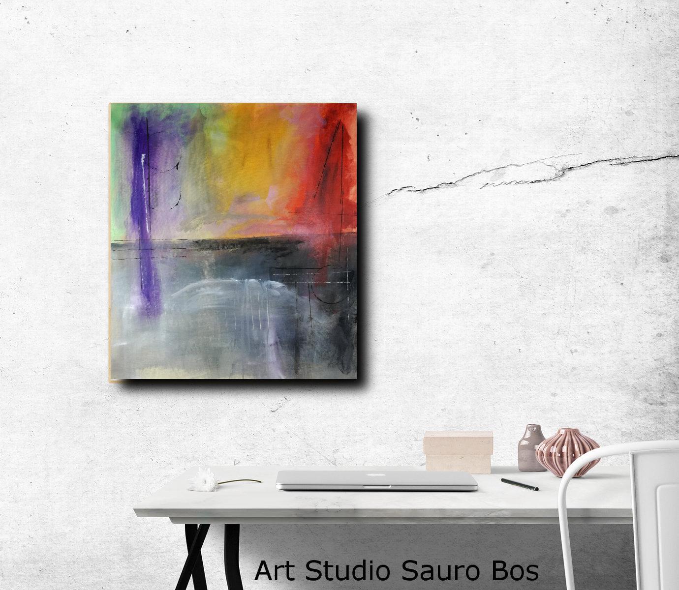 quadri paesaggio moderno c077 - quadri moderni  fatti a mano 65x70