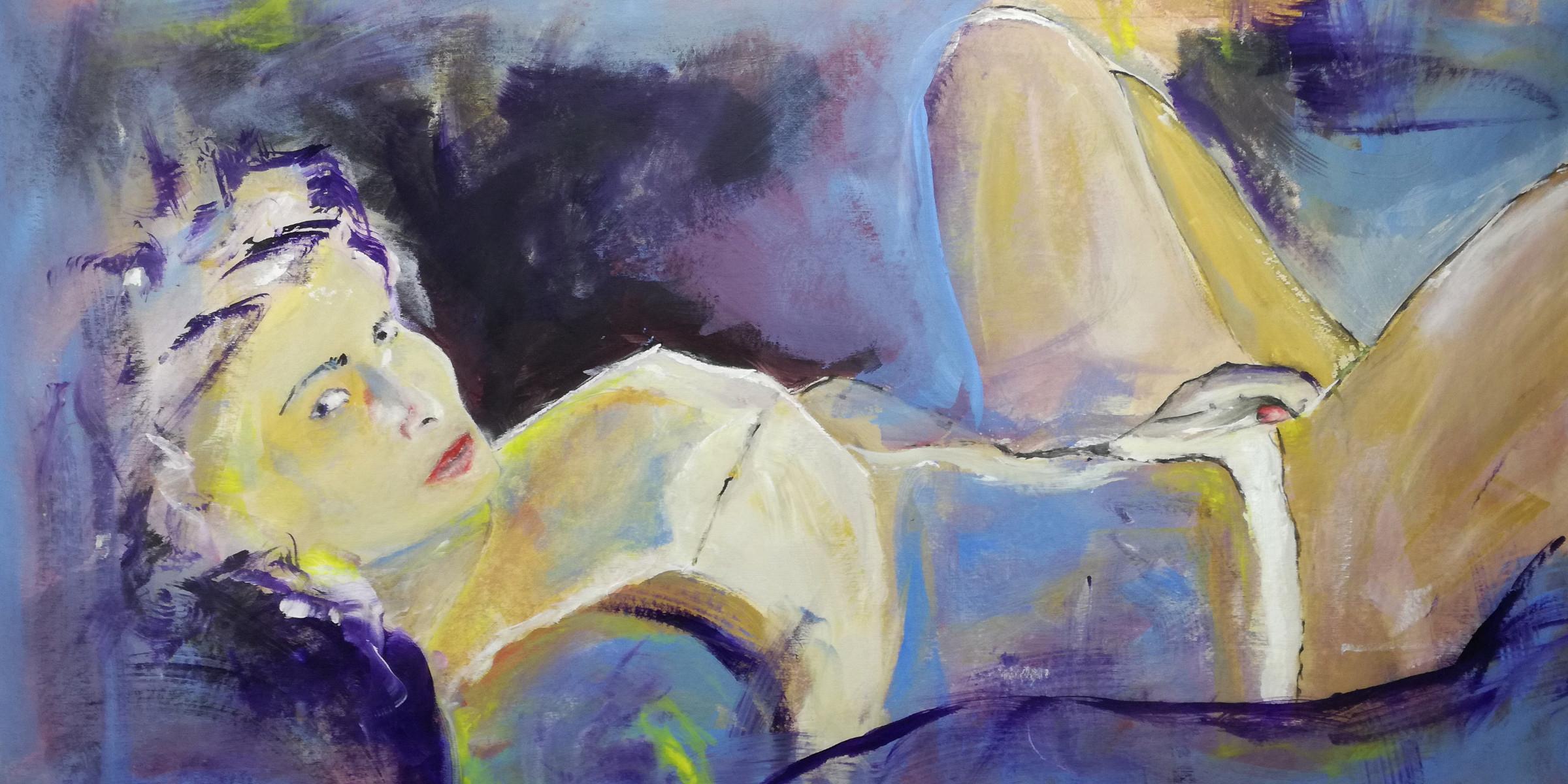dipinto donna viola woman D002 - quadri grandi dimensioni moderni 120x60