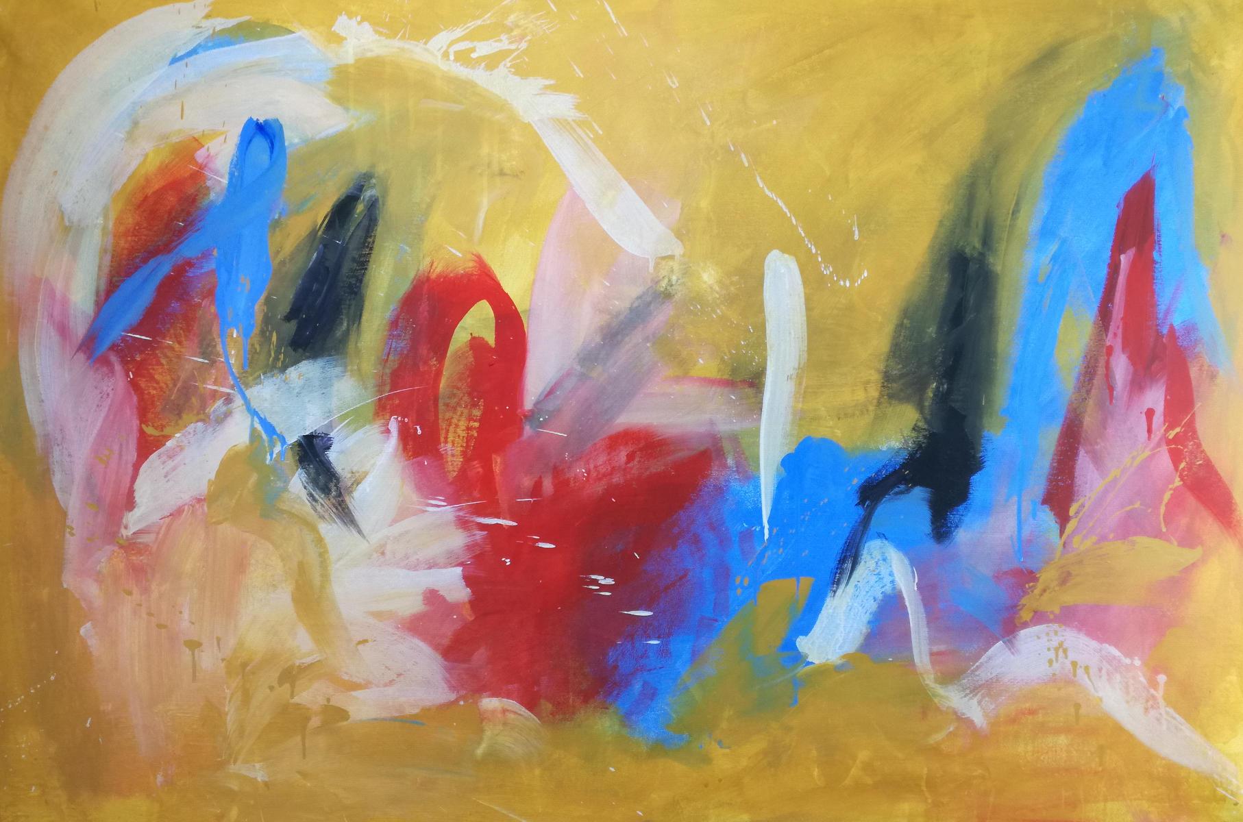 quadri astratti su tela c117 - dipinto giallo dipinto a mano 120x80