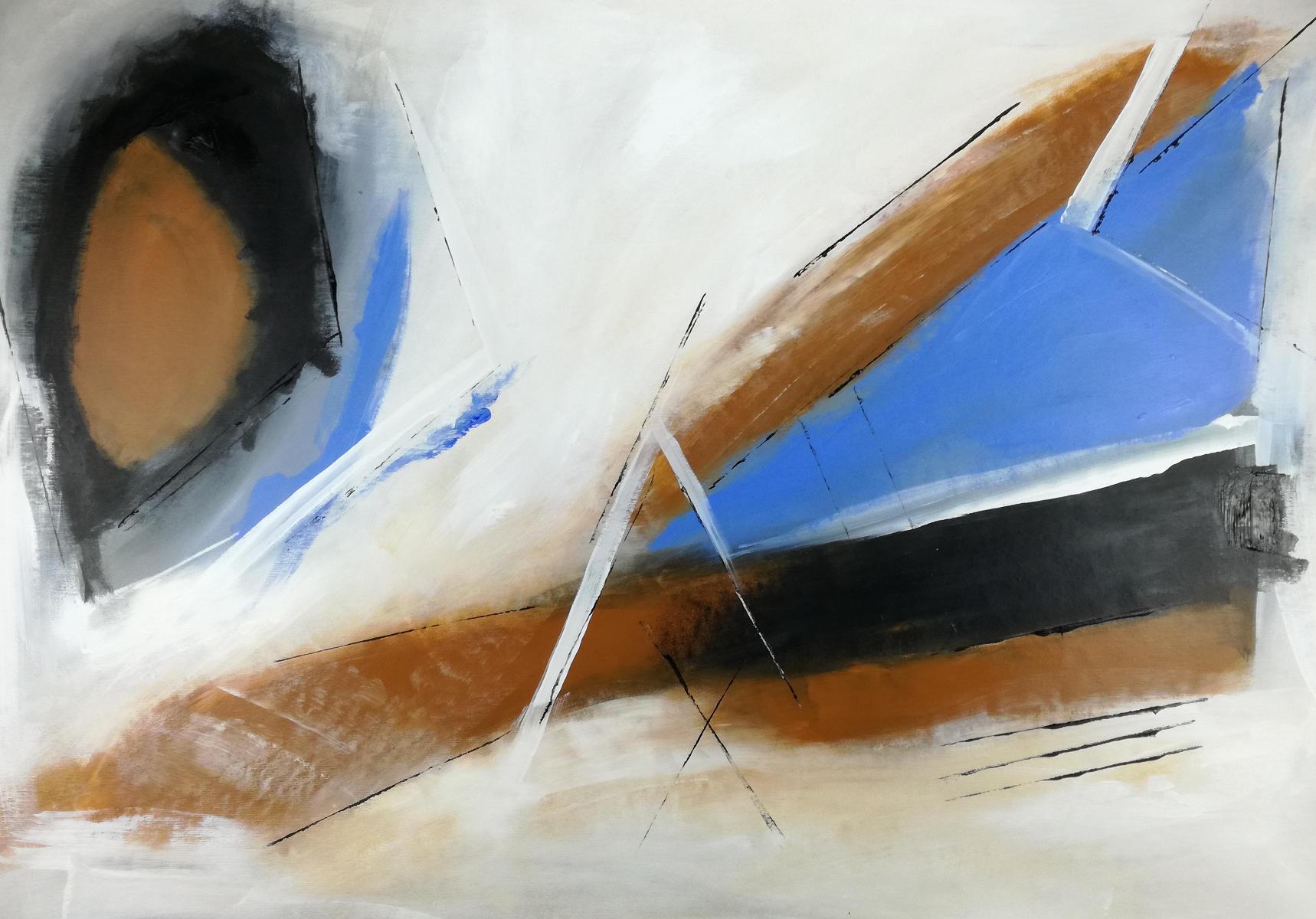 quadri astratti su tela c126 - quadro pronto da appendere 100x70 marrone