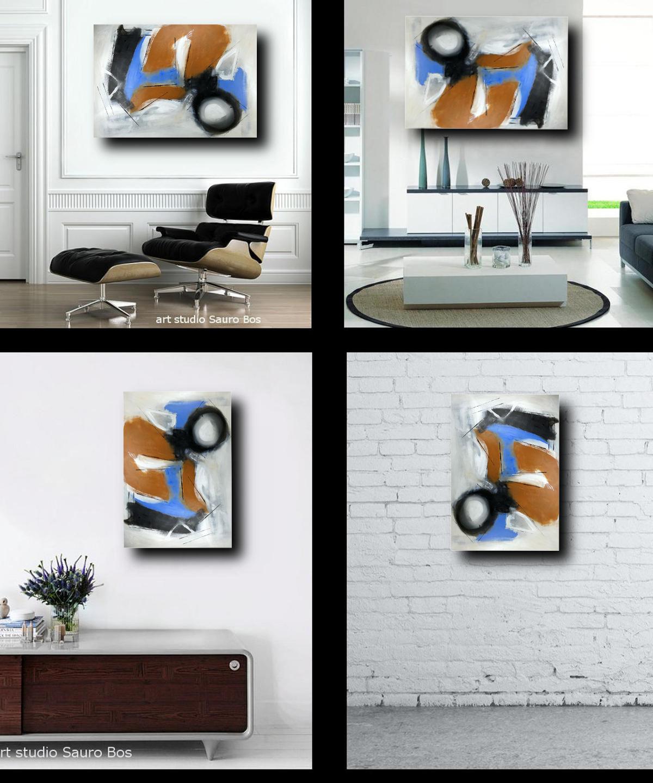 quadri astratti su tela c127 1200 - dipinto su tela pronto da appendere 100x70 marrone