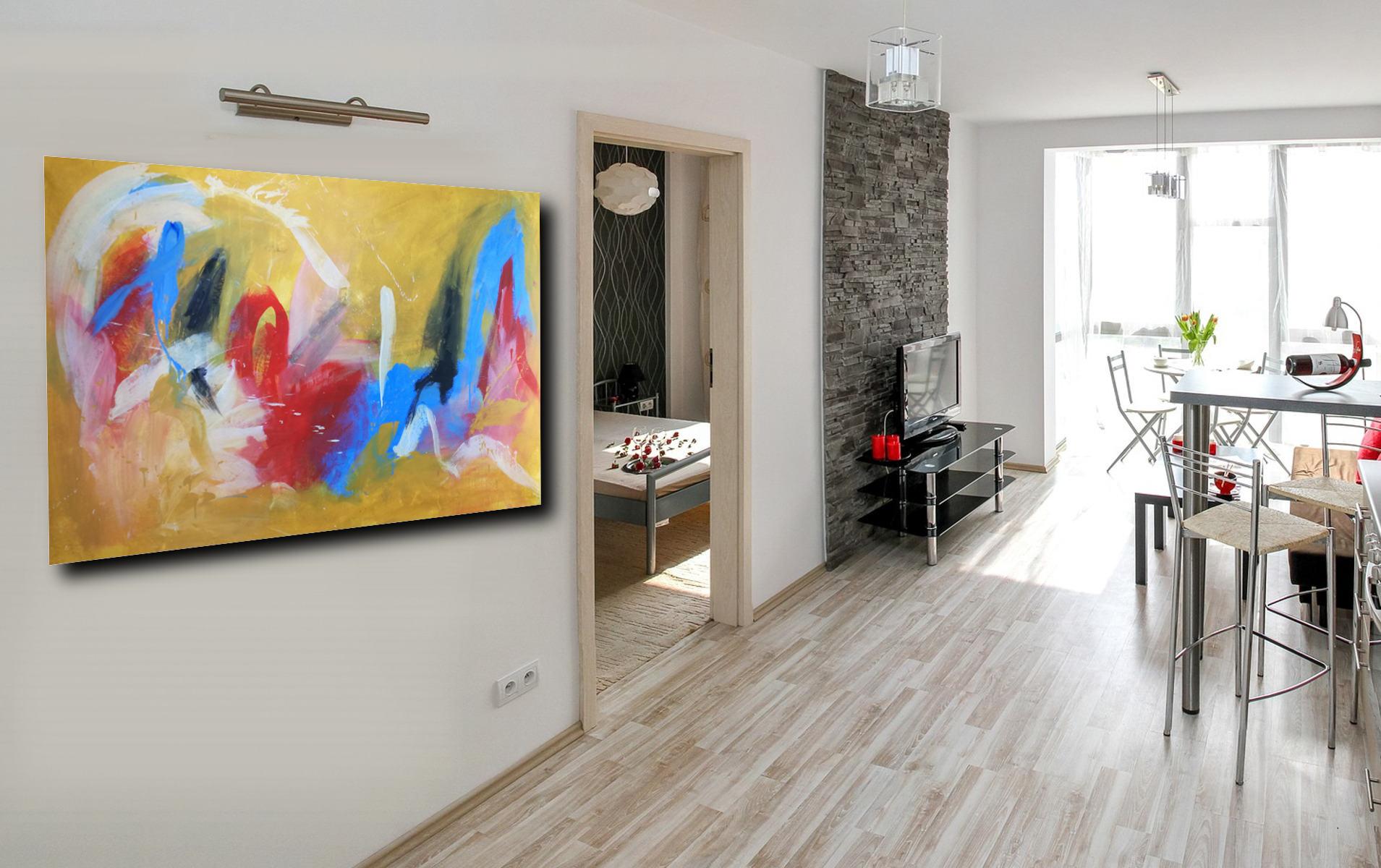 quadri astratti su tela grandi c117 - dipinto giallo dipinto a mano 120x80